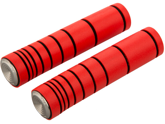 absoluteBLACK Dual Density MTB Silicone Grips with Alu Bar Plugs fluo red